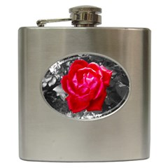 Red Rose Hip Flask