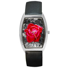 Red Rose Tonneau Leather Watch