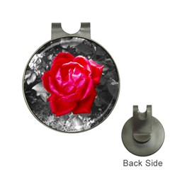 Red Rose Hat Clip with Golf Ball Marker