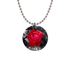 Red Rose Button Necklace