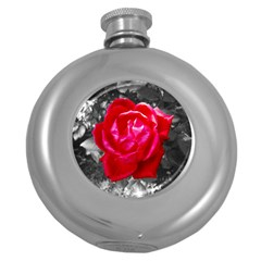 Red Rose Hip Flask (Round)