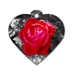 Red Rose Dog Tag Heart (one Sided)