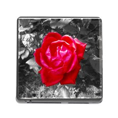 Red Rose Memory Card Reader with Storage (Square)