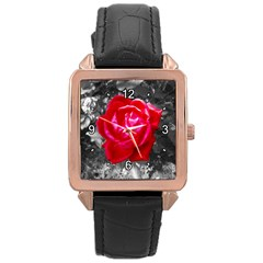 Red Rose Rose Gold Leather Watch