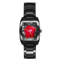 Red Rose Stainless Steel Barrel Watch