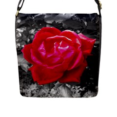 Red Rose Flap Closure Messenger Bag (Large)