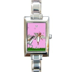 Unicorn And Fairy In A Grass Field And Sparkles Rectangular Italian Charm Watch