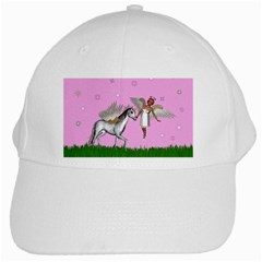 Unicorn And Fairy In A Grass Field And Sparkles White Baseball Cap