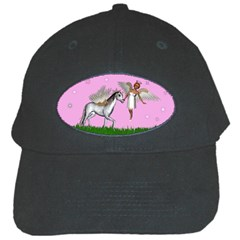 Unicorn And Fairy In A Grass Field And Sparkles Black Baseball Cap
