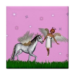 Unicorn And Fairy In A Grass Field And Sparkles Ceramic Tile
