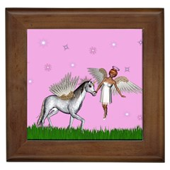 Unicorn And Fairy In A Grass Field And Sparkles Framed Ceramic Tile