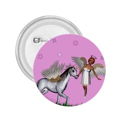 Unicorn And Fairy In A Grass Field And Sparkles 2 25  Button