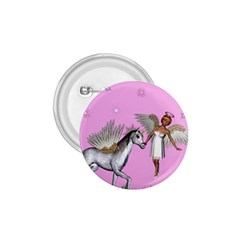 Unicorn And Fairy In A Grass Field And Sparkles 1 75  Button