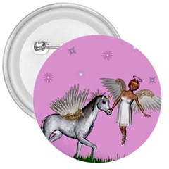 Unicorn And Fairy In A Grass Field And Sparkles 3  Button