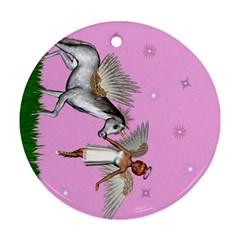 Unicorn And Fairy In A Grass Field And Sparkles Round Ornament