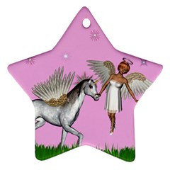 Unicorn And Fairy In A Grass Field And Sparkles Star Ornament