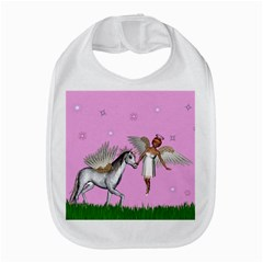 Unicorn And Fairy In A Grass Field And Sparkles Bib