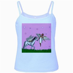Unicorn And Fairy In A Grass Field And Sparkles Baby Blue Spaghetti Tank