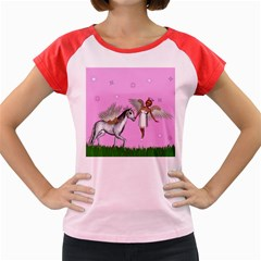 Unicorn And Fairy In A Grass Field And Sparkles Women s Cap Sleeve T-Shirt (Colored)