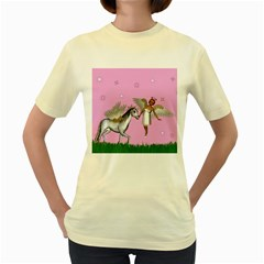 Unicorn And Fairy In A Grass Field And Sparkles Women s T-shirt (Yellow)