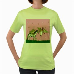 Unicorn And Fairy In A Grass Field And Sparkles Women s T-shirt (Green)