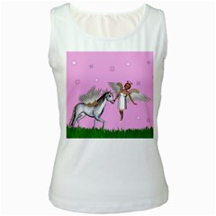 Unicorn And Fairy In A Grass Field And Sparkles Women s Tank Top (white)