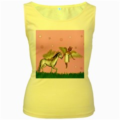 Unicorn And Fairy In A Grass Field And Sparkles Women s Tank Top (Yellow)