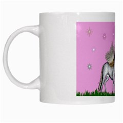 Unicorn And Fairy In A Grass Field And Sparkles White Coffee Mug