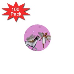 Unicorn And Fairy In A Grass Field And Sparkles 1  Mini Button (100 pack)