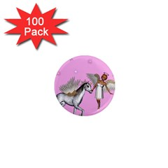 Unicorn And Fairy In A Grass Field And Sparkles 1  Mini Button Magnet (100 pack)