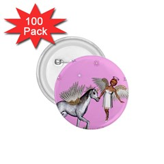 Unicorn And Fairy In A Grass Field And Sparkles 1 75  Button (100 Pack)