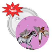 Unicorn And Fairy In A Grass Field And Sparkles 2.25  Button (10 pack)