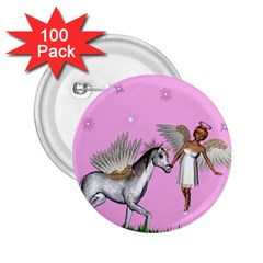 Unicorn And Fairy In A Grass Field And Sparkles 2 25  Button (100 Pack)