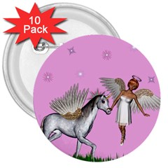 Unicorn And Fairy In A Grass Field And Sparkles 3  Button (10 pack)