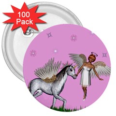 Unicorn And Fairy In A Grass Field And Sparkles 3  Button (100 pack)