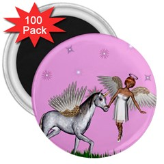Unicorn And Fairy In A Grass Field And Sparkles 3  Button Magnet (100 pack)