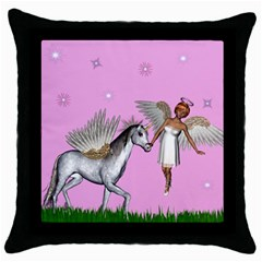 Unicorn And Fairy In A Grass Field And Sparkles Black Throw Pillow Case