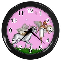 Unicorn And Fairy In A Grass Field And Sparkles Wall Clock (black)