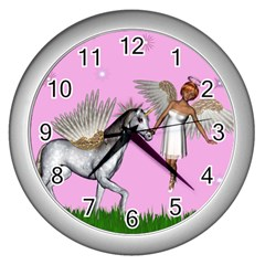 Unicorn And Fairy In A Grass Field And Sparkles Wall Clock (silver)
