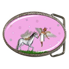 Unicorn And Fairy In A Grass Field And Sparkles Belt Buckle (Oval)