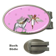 Unicorn And Fairy In A Grass Field And Sparkles Money Clip (Oval)