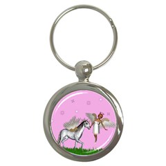 Unicorn And Fairy In A Grass Field And Sparkles Key Chain (Round)