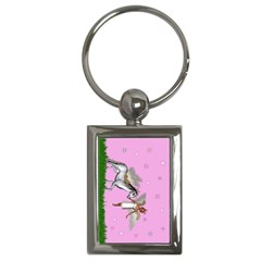 Unicorn And Fairy In A Grass Field And Sparkles Key Chain (rectangle)