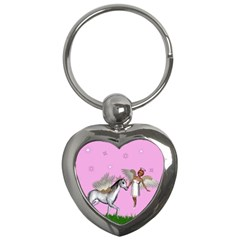 Unicorn And Fairy In A Grass Field And Sparkles Key Chain (Heart)