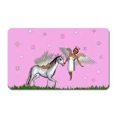 Unicorn And Fairy In A Grass Field And Sparkles Magnet (Rectangular)