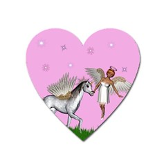 Unicorn And Fairy In A Grass Field And Sparkles Magnet (Heart)