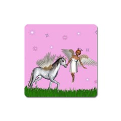 Unicorn And Fairy In A Grass Field And Sparkles Magnet (Square)