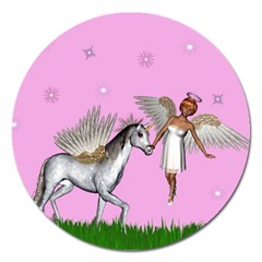 Unicorn And Fairy In A Grass Field And Sparkles Magnet 5  (round)