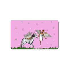 Unicorn And Fairy In A Grass Field And Sparkles Magnet (name Card)