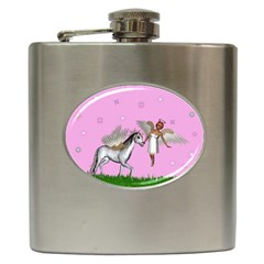 Unicorn And Fairy In A Grass Field And Sparkles Hip Flask